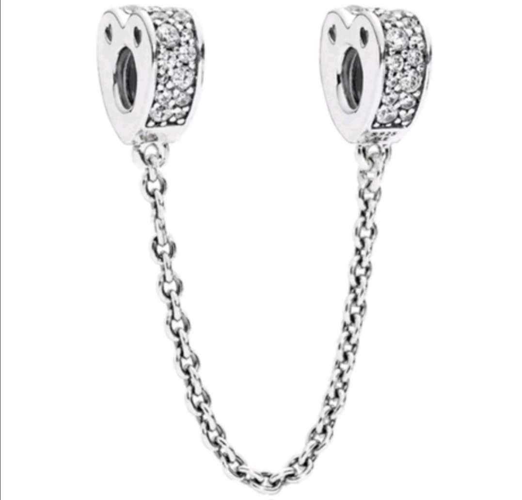 Imagen Cadena de seguridad Corazón para pulsera de Pandora chapada en plata