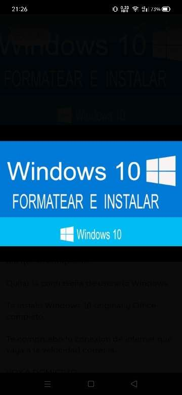 Imagen Formatear e instalar Windows 10 a PC o portátil