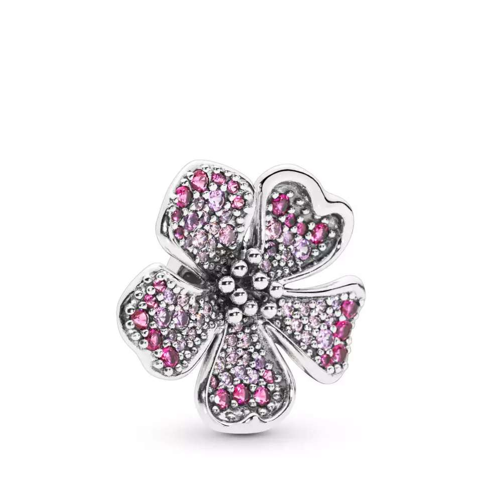 Imagen Charms Flor con Brillantes para pulsera Pandora bañado en Plata
