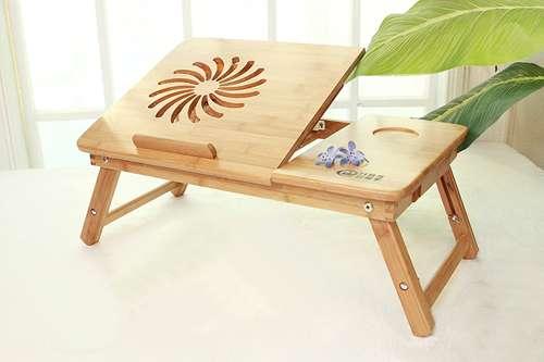 Imagen Ventilador mesa de bambu para portatiles 3 alturas
