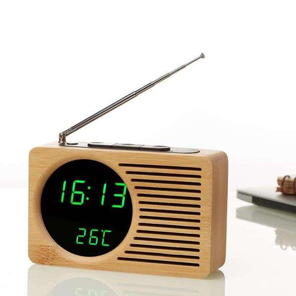 Imagen Transistor radio FM reloj despertador y termometro de bambu