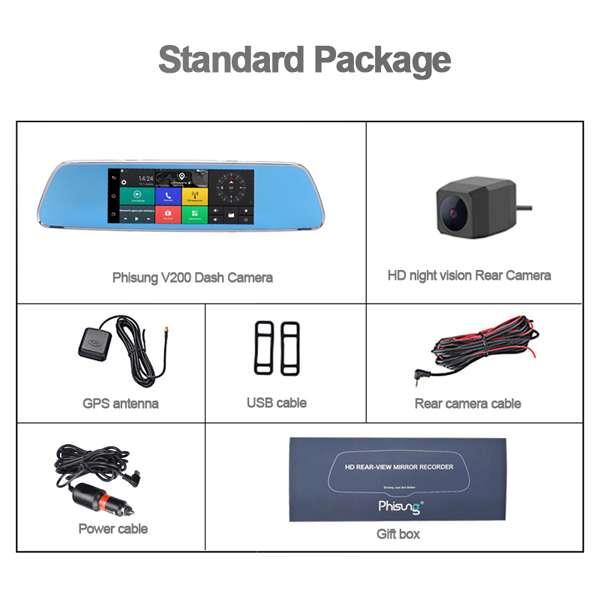 Imagen producto Navegador GPS en espejo retrovisor con internet dos camaras y manos libres para llamadas en el coche 5