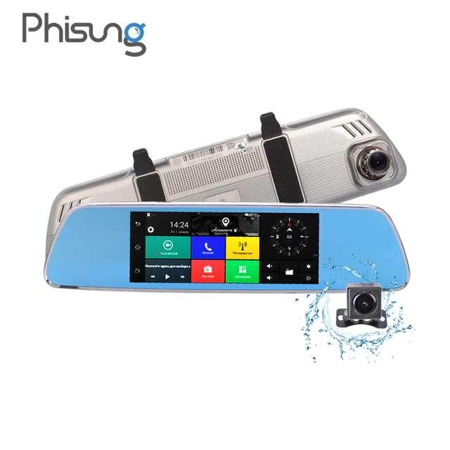 Imagen Navegador GPS en espejo retrovisor con internet dos camaras y manos libres para llamadas en el coche