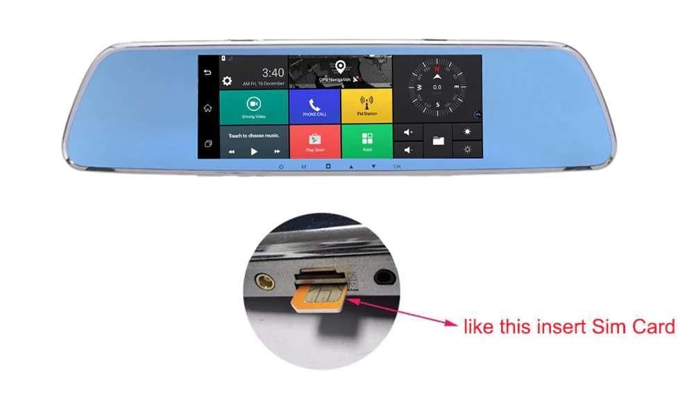Imagen producto Navegador GPS en espejo retrovisor con internet dos camaras y manos libres para llamadas en el coche 3