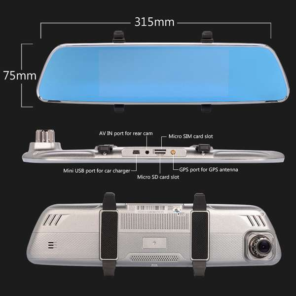 Imagen producto Navegador GPS en espejo retrovisor con internet dos camaras y manos libres para llamadas en el coche 6