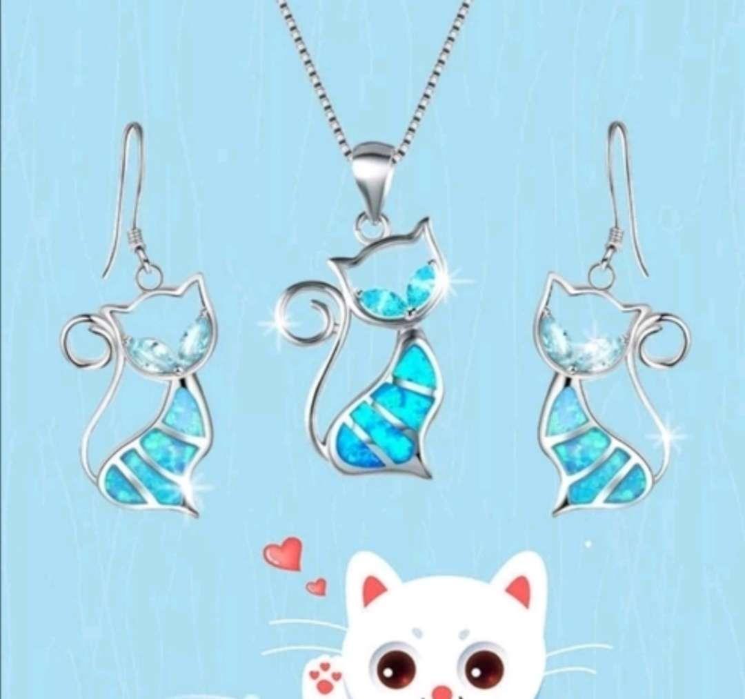 Imagen producto Colgante y Pendientes : Conjunto Gato Azul con reflejos, el regalo ideal  1