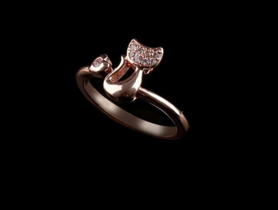 Imagen producto Anillo Adaptable Gato con brillantes 2 colores : Plateado o Rosa Gold, a estrenar  5