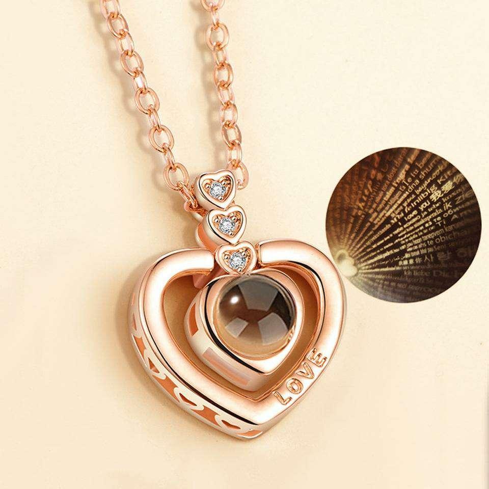 Imagen Collar corazón De Proyección 100 Idiomas