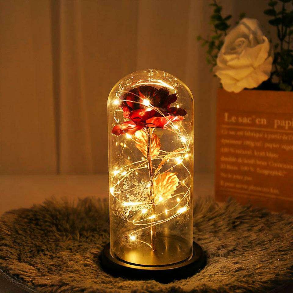Imagen producto Lámpara de rosa con hoja de oro cúpula de cristal 3