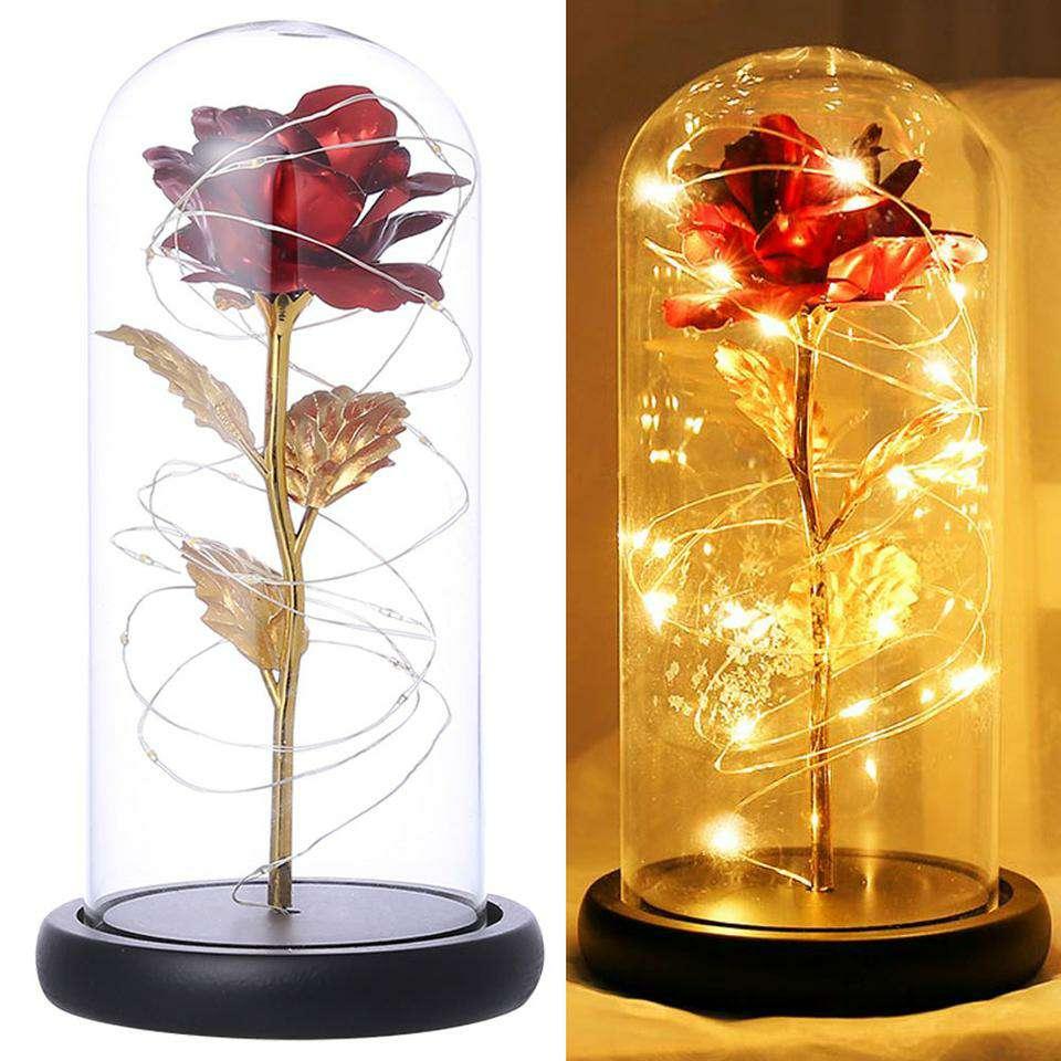 Imagen Lámpara de rosa con hoja de oro cúpula de cristal