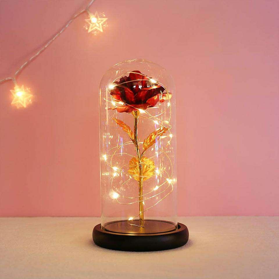 Imagen producto Lámpara de rosa con hoja de oro cúpula de cristal 6