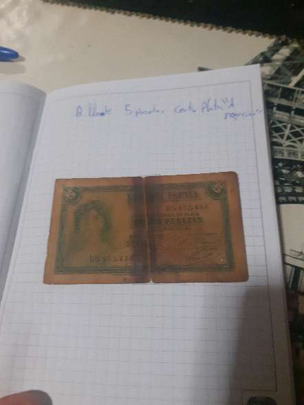Imagen billete 5 pesetas 1935 certificado de plata