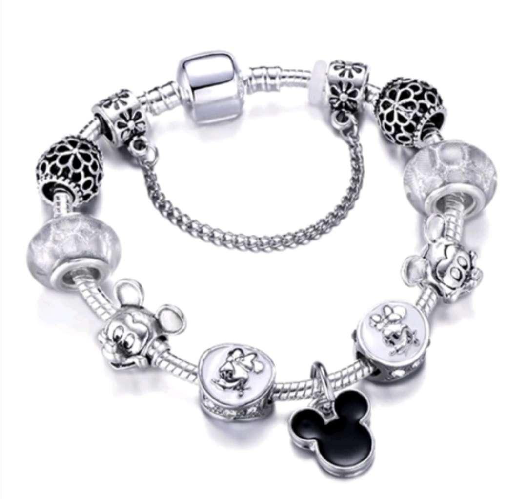 Imagen Pulsera estilo Pandora con Charms de Mickey y Minnie bañada en Plata