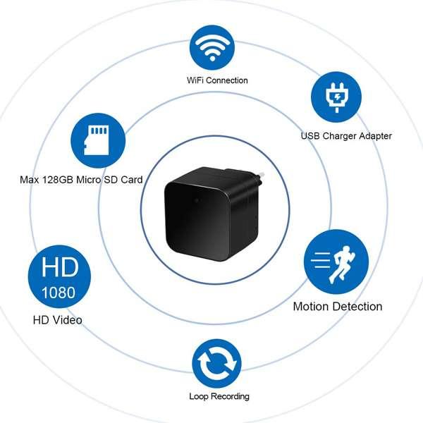 Imagen producto Camara espia IP wifi en cargador con alarma 4