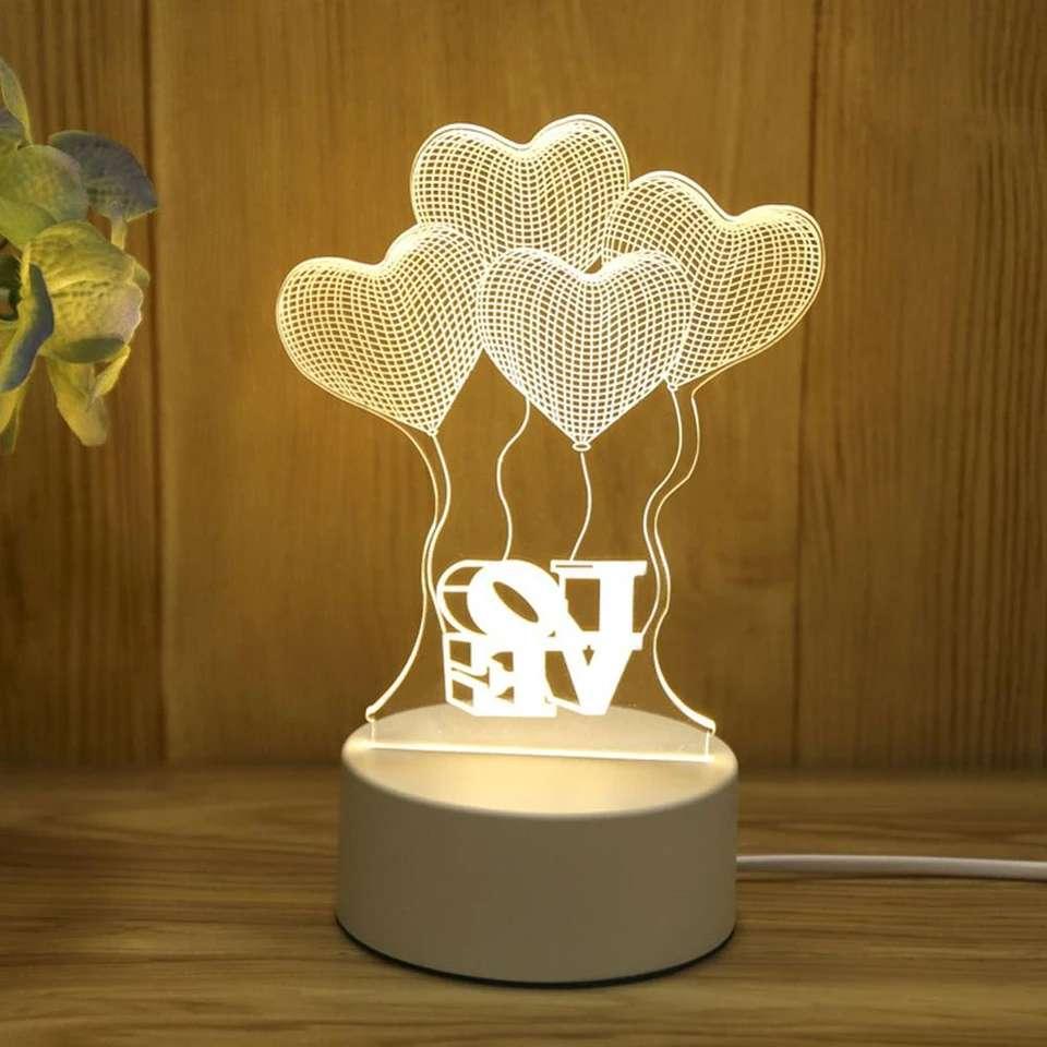 Imagen Lampara 3D De Amor Con Luz Led