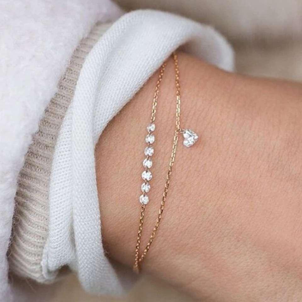 Imagen Pulsera De Corazón Con Cristales De Doble Capa