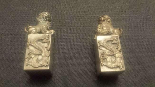 Imagen producto Leones de Foo pareja de miniaturas en bronce 1