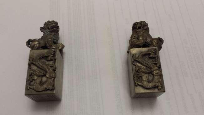 Imagen producto Leones de Foo pareja de miniaturas en bronce 3