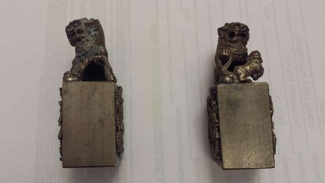 Imagen producto Leones de Foo pareja de miniaturas en bronce 4