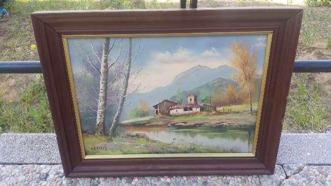 Imagen Cuadro pintado al oleo paisaje con casa