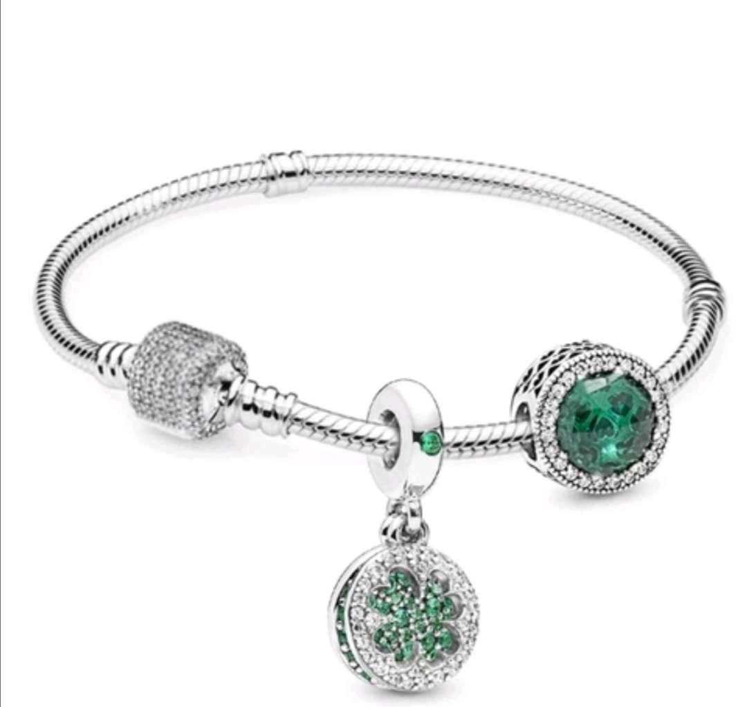 Imagen Pulsera estilo Pandora Charms Trébol Verde de la Suerte, bañada en Plata
