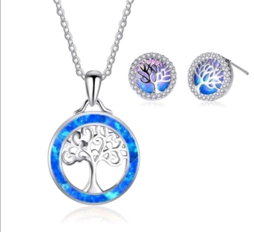 Imagen Colgante y Pendientes Árbol de la Vida Azul con reflejos, el regalo ideal
