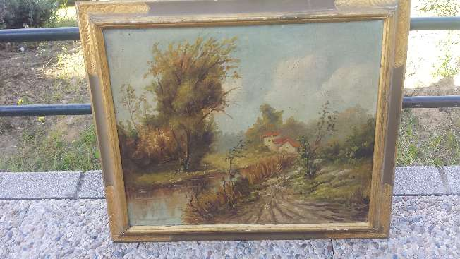 Imagen Cuadro antiguo pintado al oleo moldura en Pan de Oro