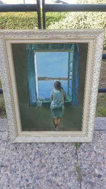 Imagen Cuadro pintado al oleo sobre lienzo Copia de Salvador Dali nombre Muchacha en una ventana