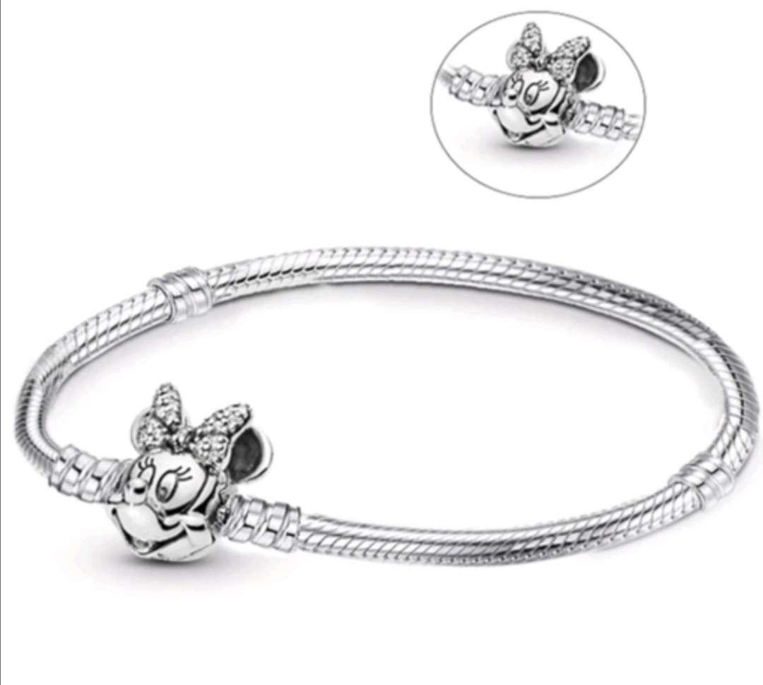 Imagen Pulsera Minnie para Charms de Pandora, Bañada en Plata