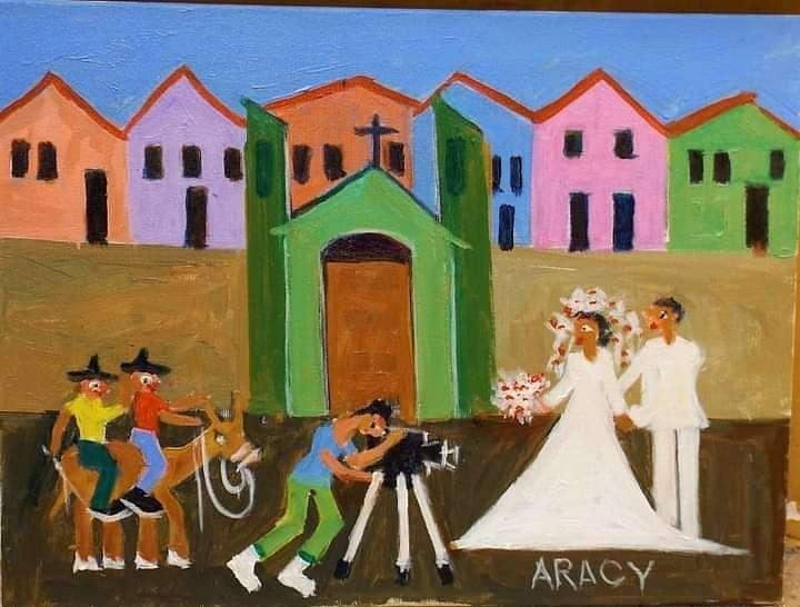 Imagen Aracy artista naif tema casamento na roça medida 30x40