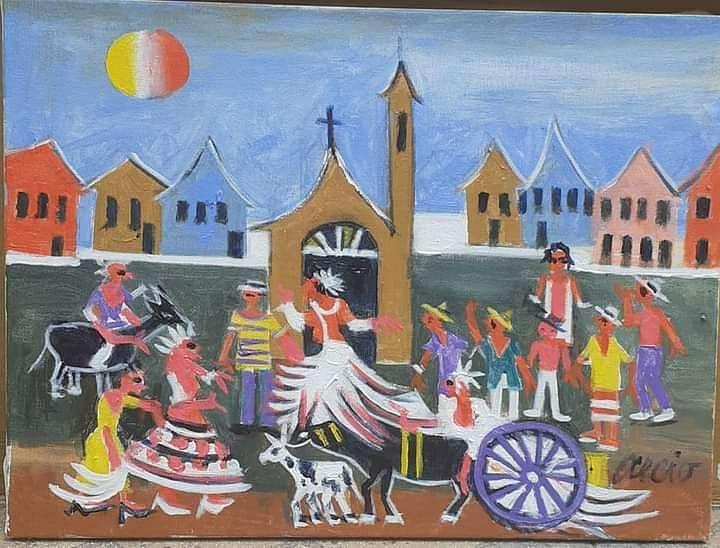 Imagen Aécio tema casamento no sítio medida 30x40  Galeria Ajur sp divulgador da arte naif brasileira Tel 11 974152050