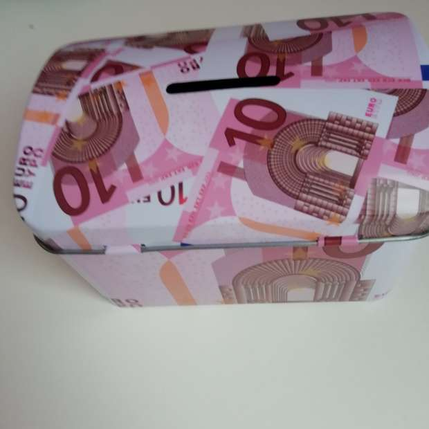 Imagen Hucha estampado billetes rosas