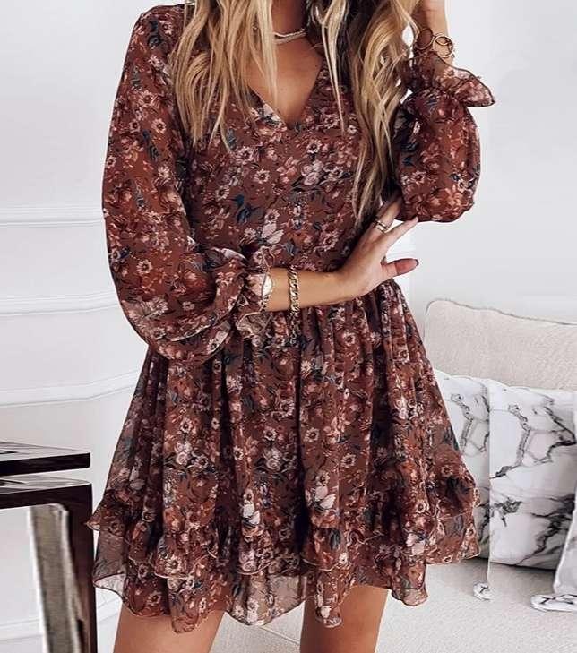 Imagen Vestido Marrón con flores Nueva Temporada, está de Moda talla L
