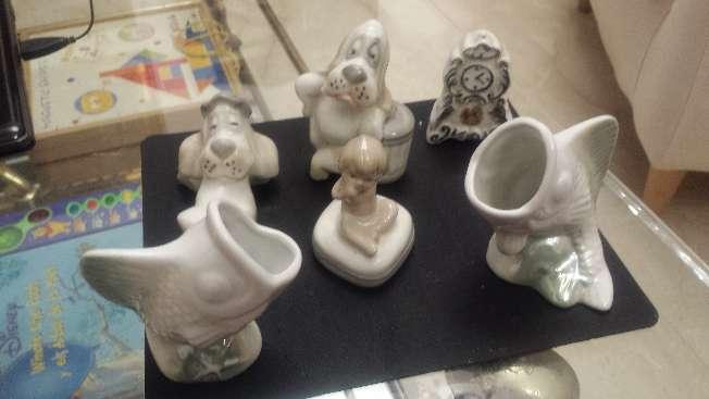 Imagen Figuras de porcelana y ensaladera concha 7 piezas