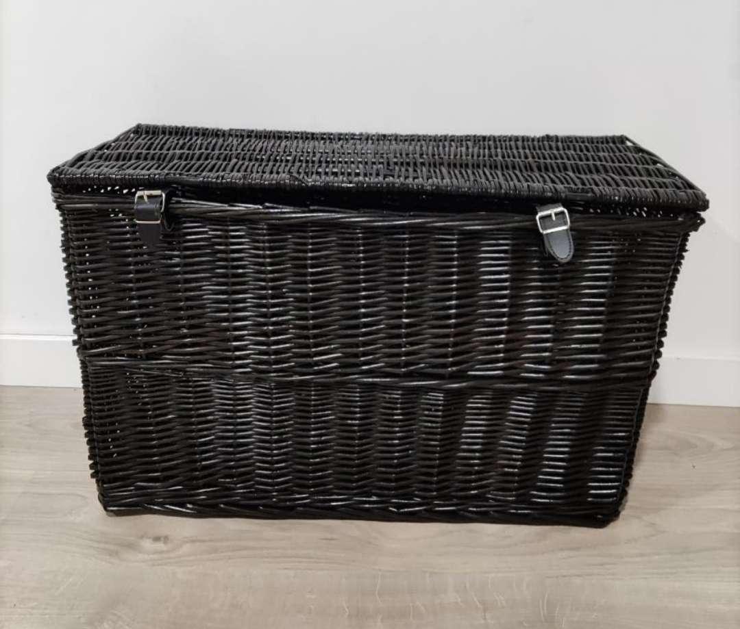 Imagen Baúl almacenaje mimbre negro 70x32x45