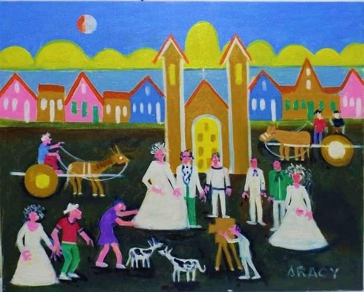Imagen Aracy artista naif Casamento no sitio