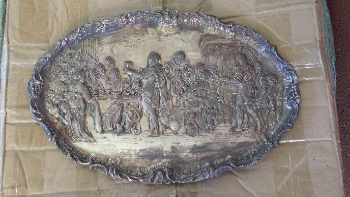 Imagen Cuadro bandeja repujada de cobre bañada en plata