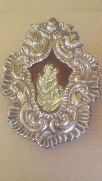 Imagen producto Relicario de San Jose de metal y la figura de plata 23x17 ctms. 3