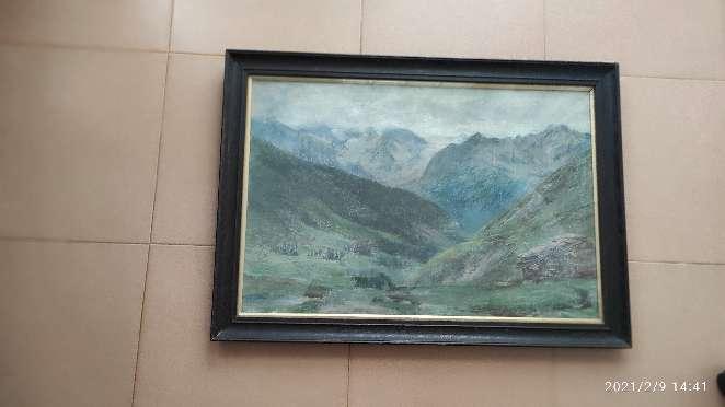 Imagen Cuadro de paisaje de montañas pintado al pastel