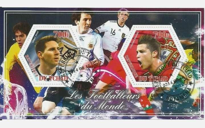 Imagen Hoja sellos. Futbolistas del mundo. Lionel Messi y Cristiano Ronaldo.