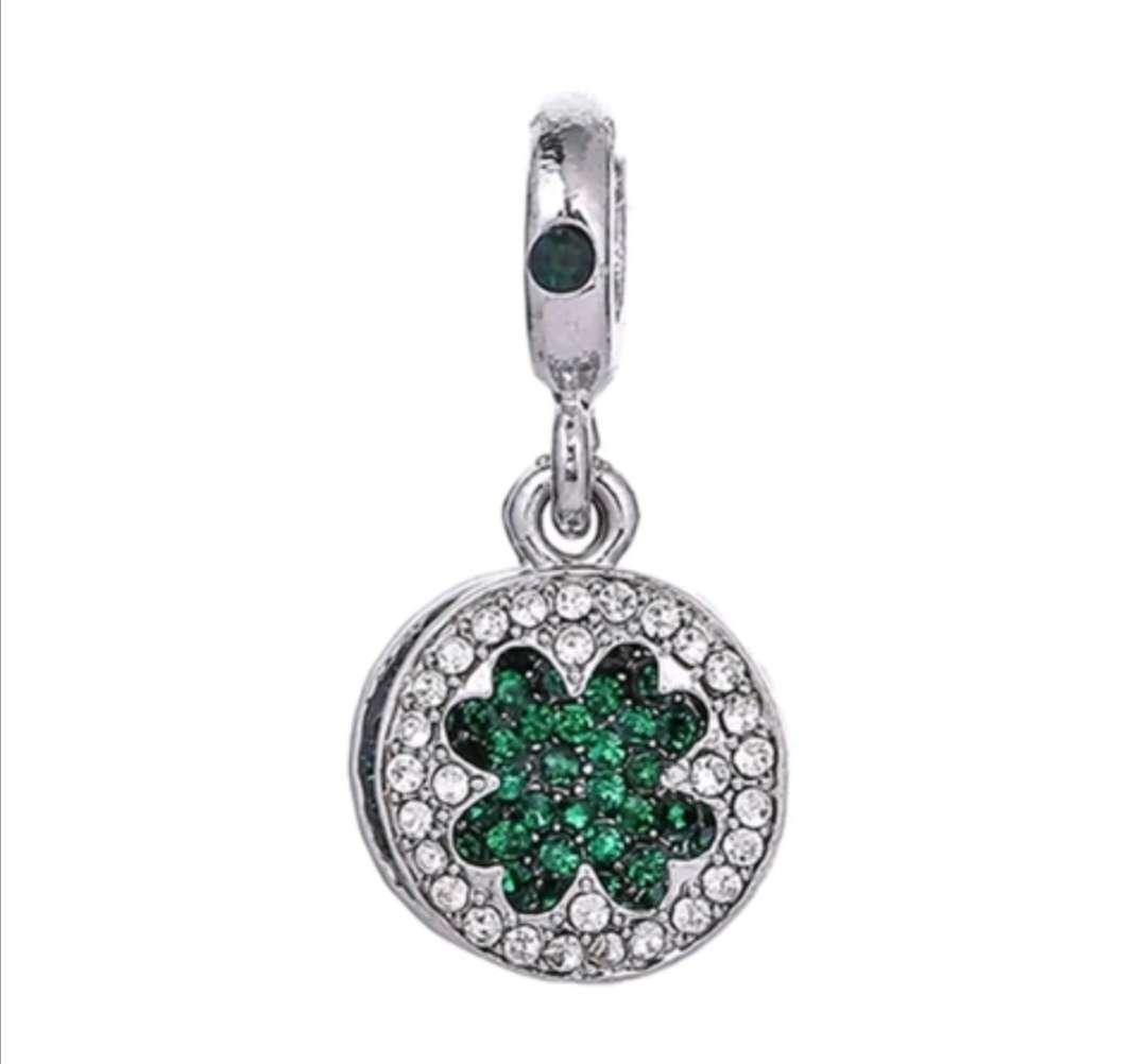 Imagen Charms - abalorios Trébol Verde con brillantes para pulsera de Pandora, bañados en plata