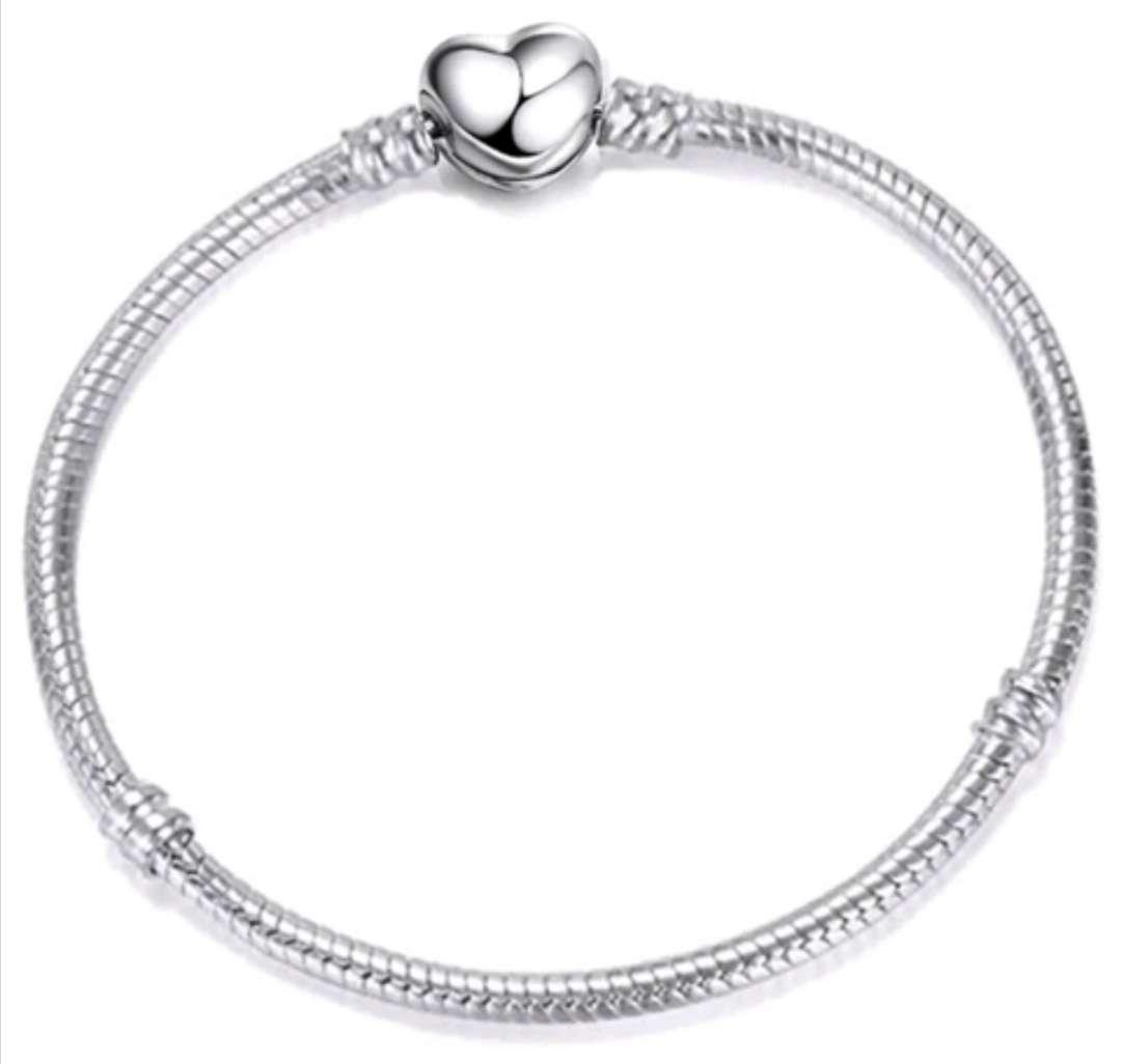 Imagen Pulsera Corazón estilo Pandora para Charms - abalorios, bañada en Plata