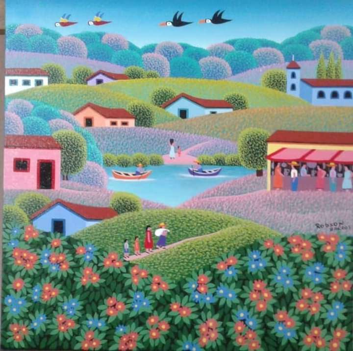 Imagen Robson barros artista naif tema paisagem  dos sonhos