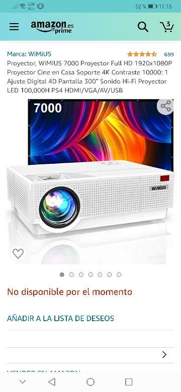 Imagen vendo proyector wimius nuevo a estrenar 7200 lúmens,soporta 4k resolución 1920x1080.salidas HDMI, VGA y USB .
