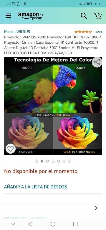 Imagen producto Vendo proyector wimius nuevo a estrenar 7200 lúmens,soporta 4k resolución 1920x1080.salidas HDMI, VGA y USB . 2