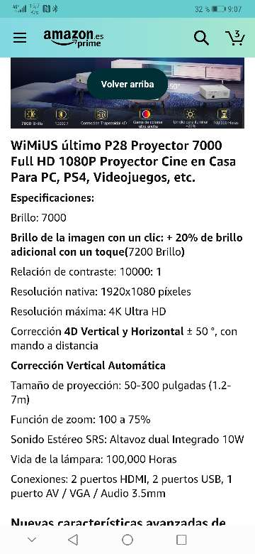 Imagen producto Vendo proyector wimius nuevo a estrenar 7200 lúmens,soporta 4k resolución 1920x1080.salidas HDMI, VGA y USB . 10