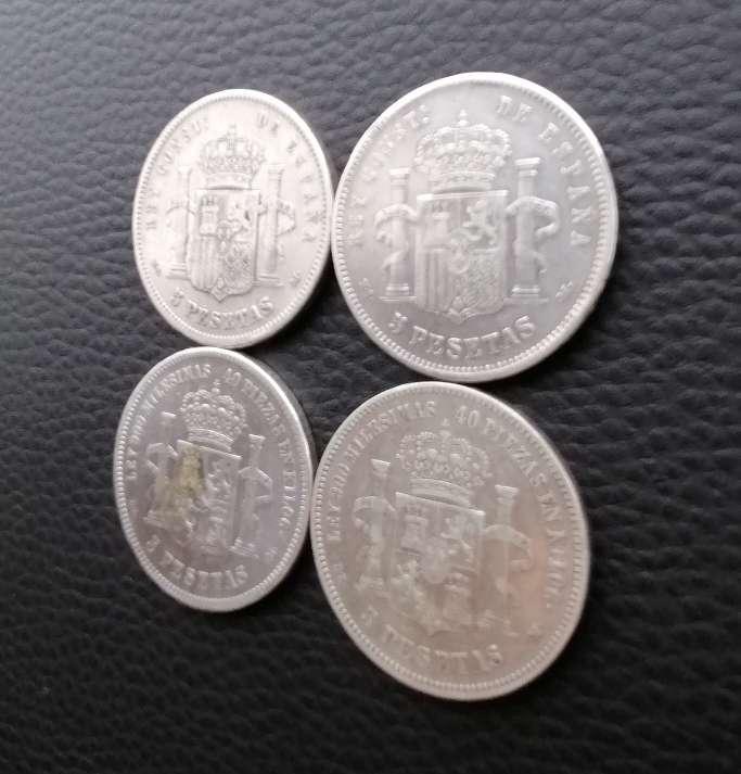 Imagen producto 4 Monedas plata 5 pesetas Alfonso XII  6
