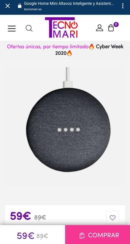 Imagen producto Altavoz Bluetooth Google Home Mini - Negro 2