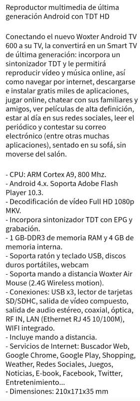 Imagen producto Smart TV Woxter Android TV 600 Nuevo 6