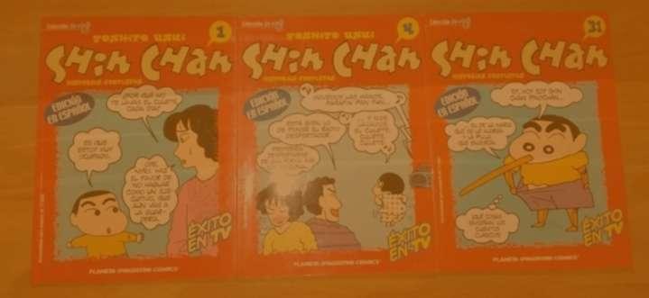 Imagen Shin Chan Pack de 14 comics. En español: 0, 1, 4, 31. En catalán: 3, 14, 15, 16, 18, 32, 35, 39, 40, 47.